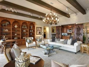Beautifully staged living room in $11M home on Lake Minnetonka