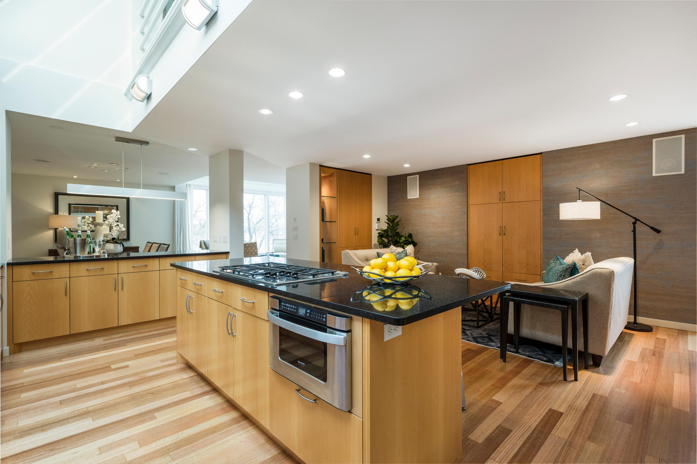 Home Staging Contemporary Kitchen with Hardwood Floors