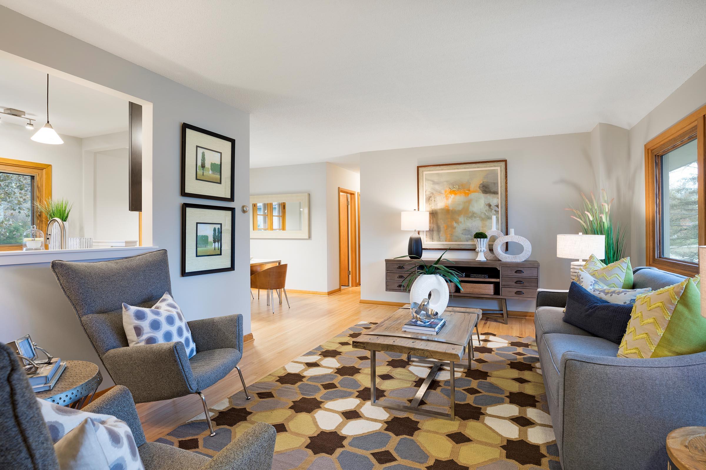 Mid-Century Modern Staging Living Room