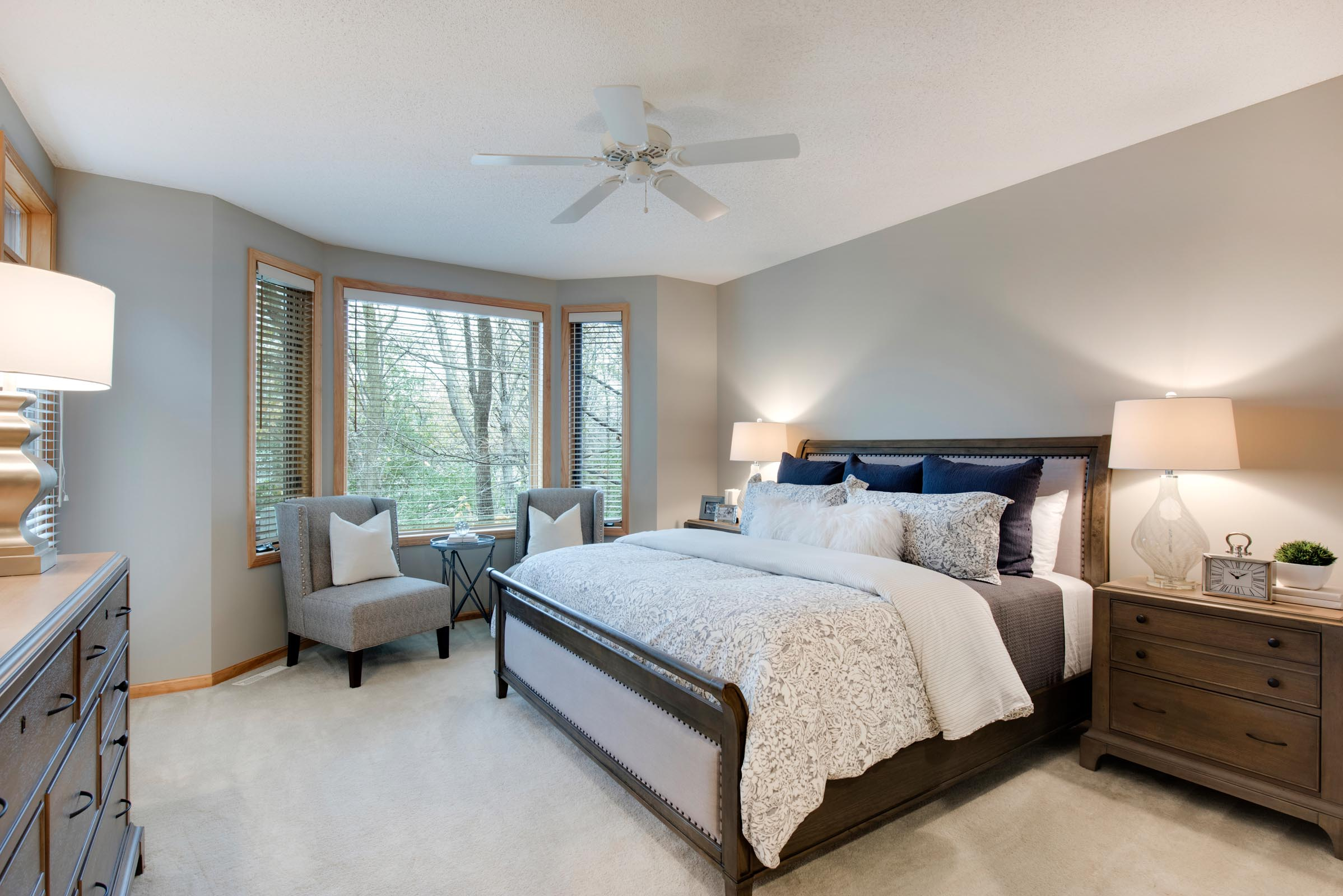Stage Townhome Master Bedroom with Seating