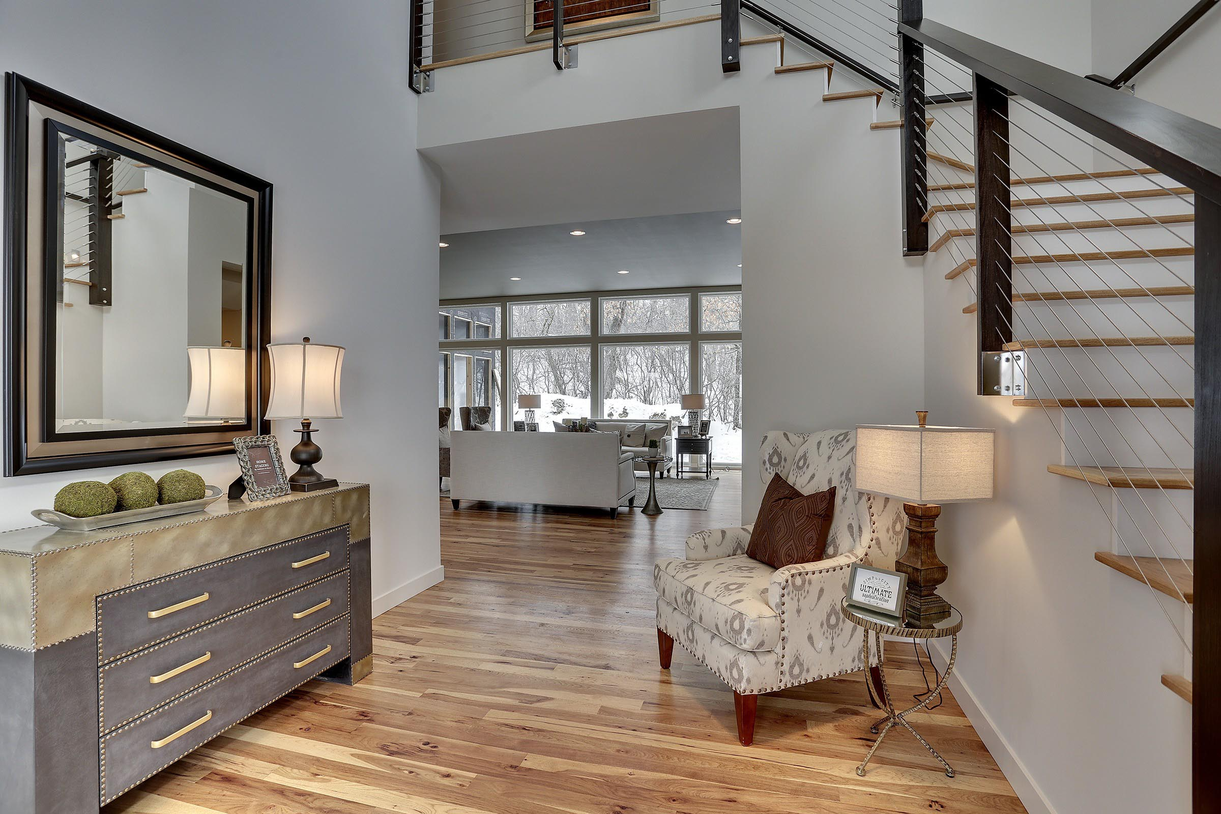 Contemporary Foyer with Beautiful Staging