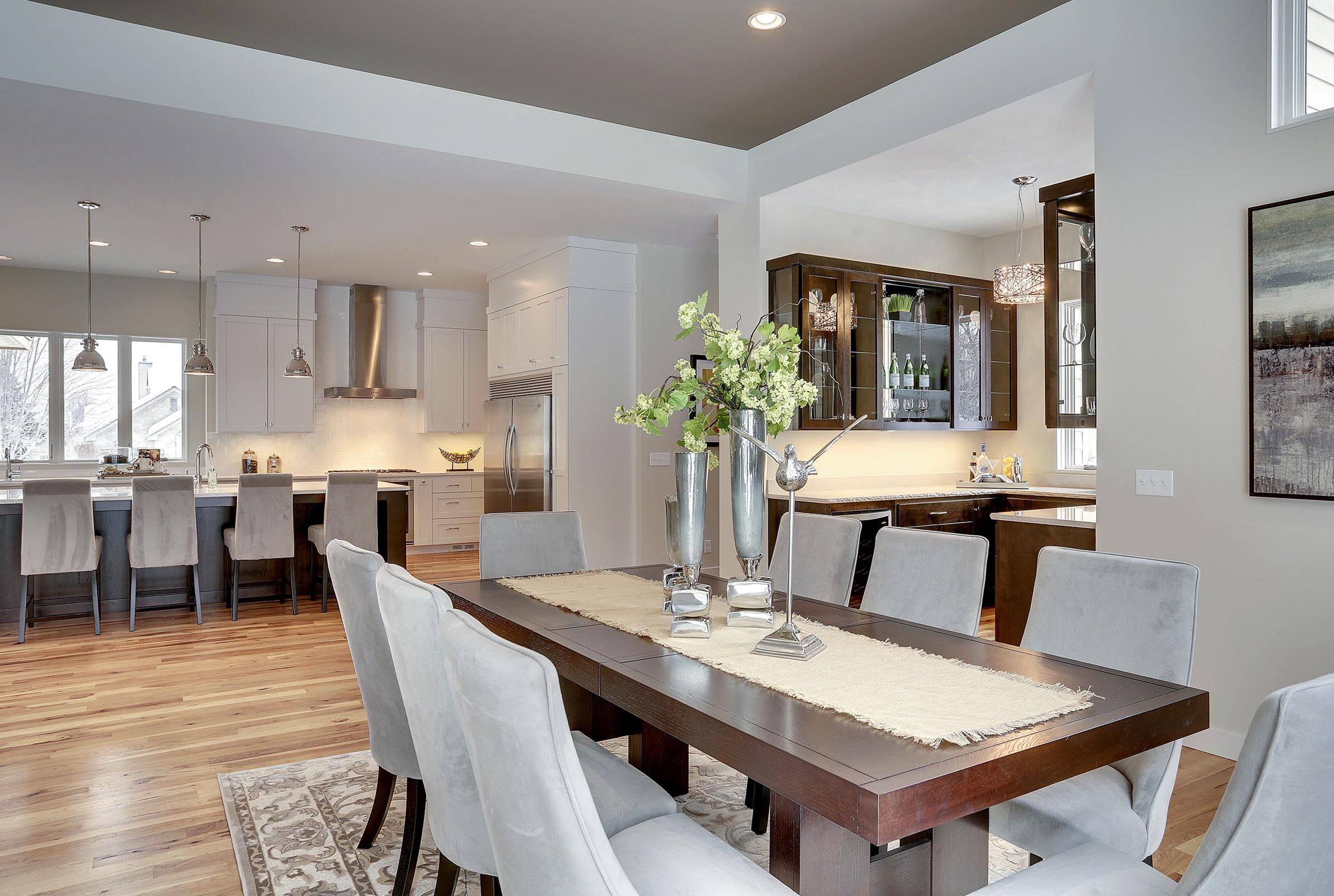 Contemporary Dining Area with Beautiful Staging