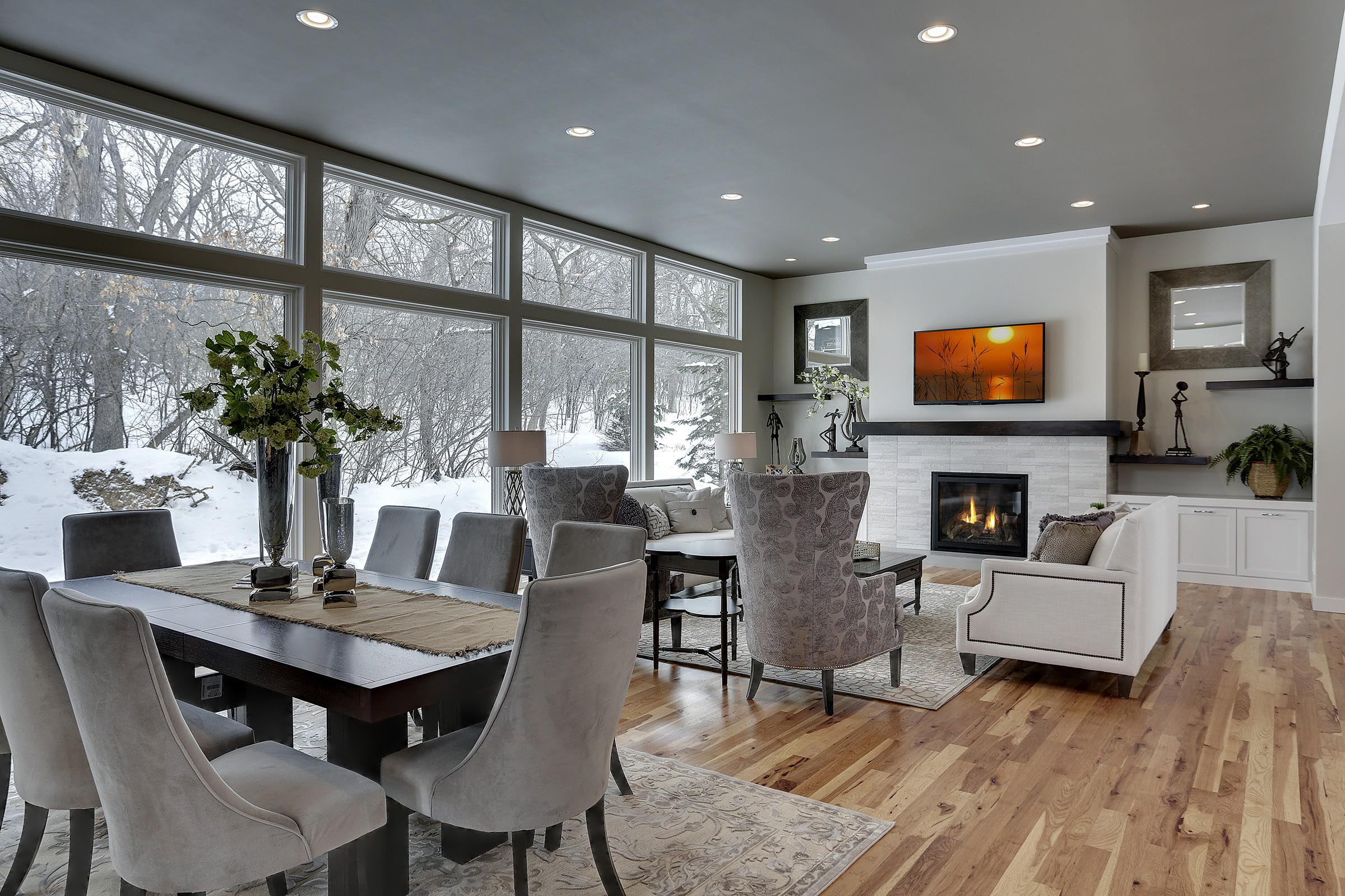 Contemporary Great Room with Beautiful Staging