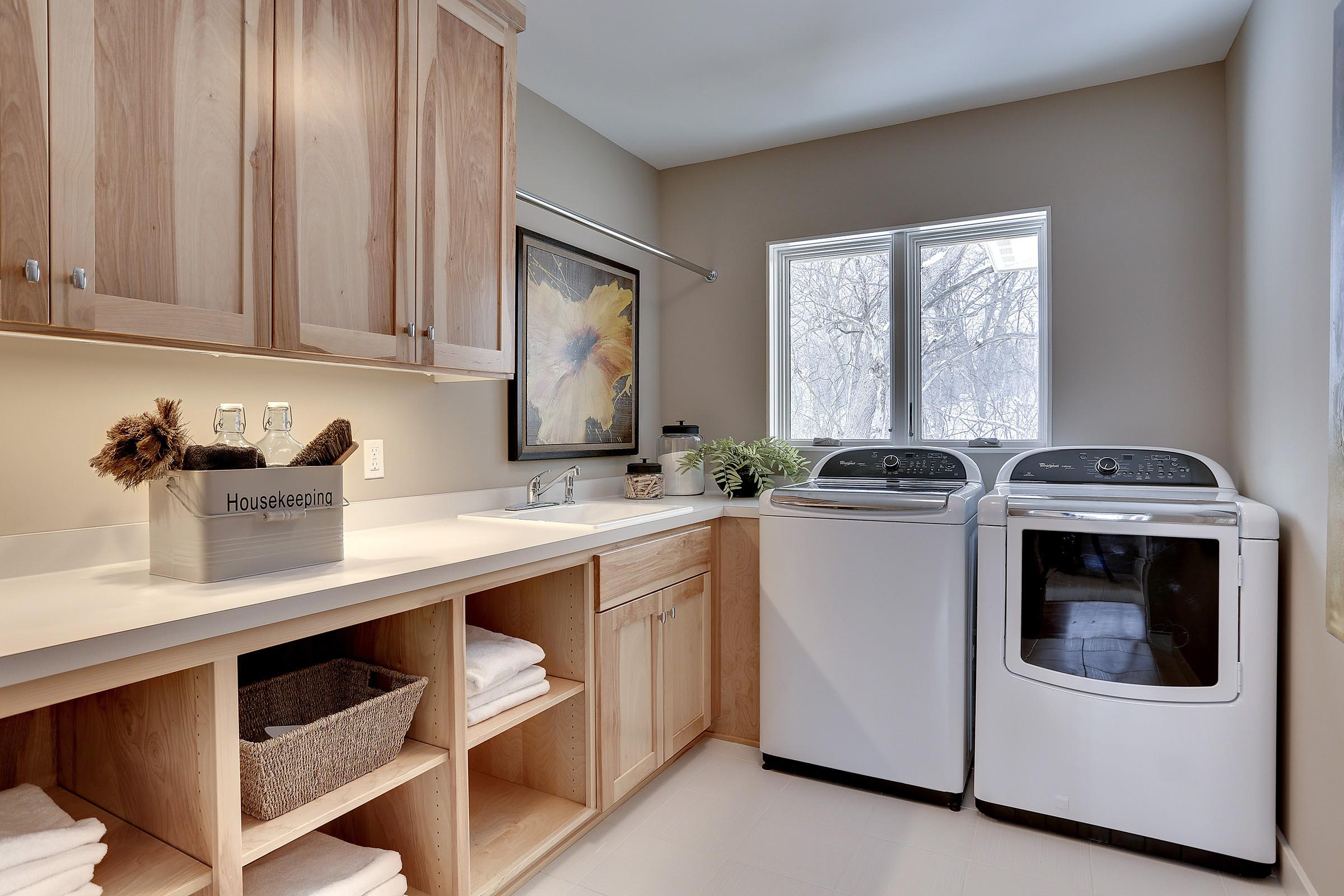 Contemporary Laundry Room with Beautiful Staging