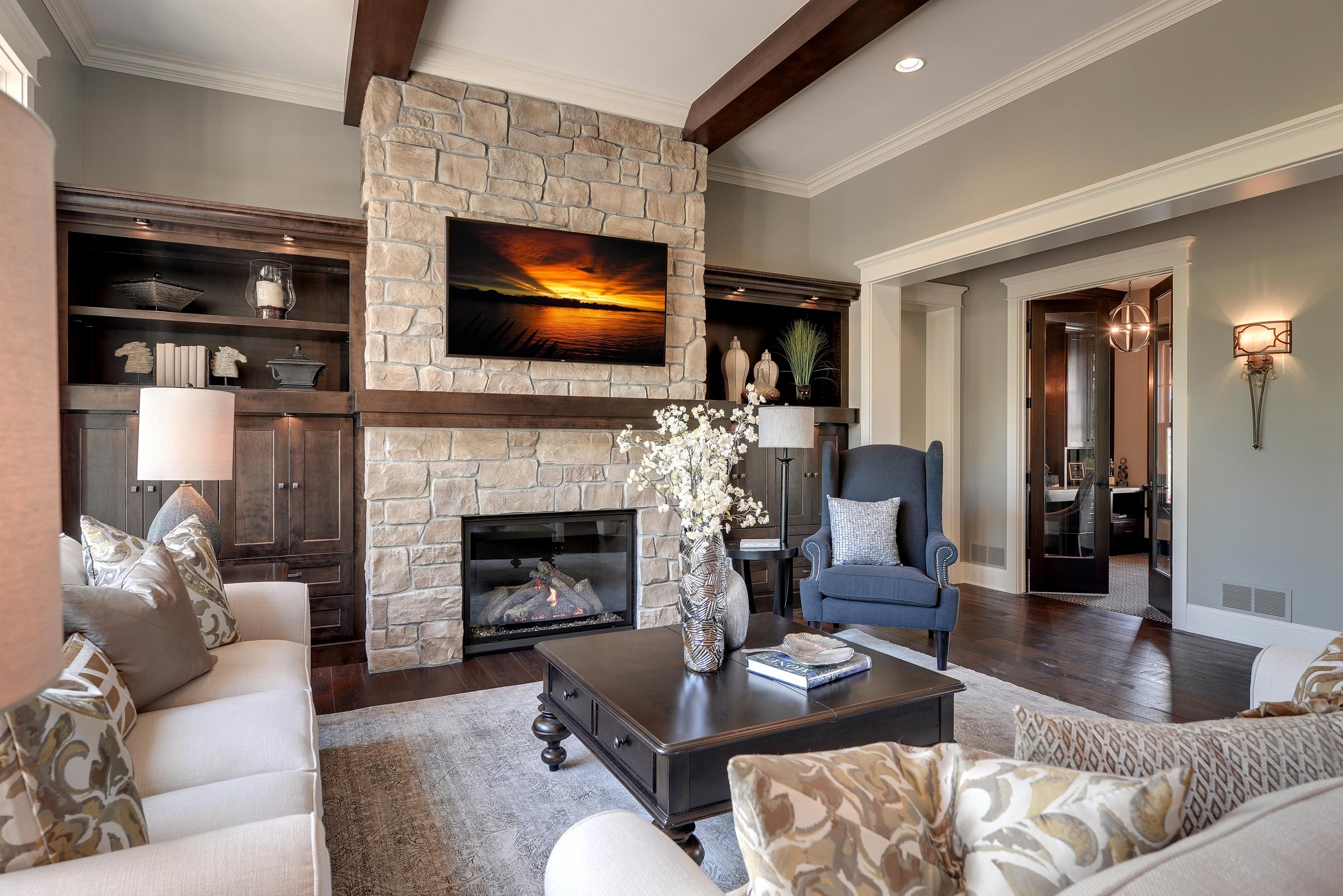 Traditional Living Room with Beautiful Home Staging