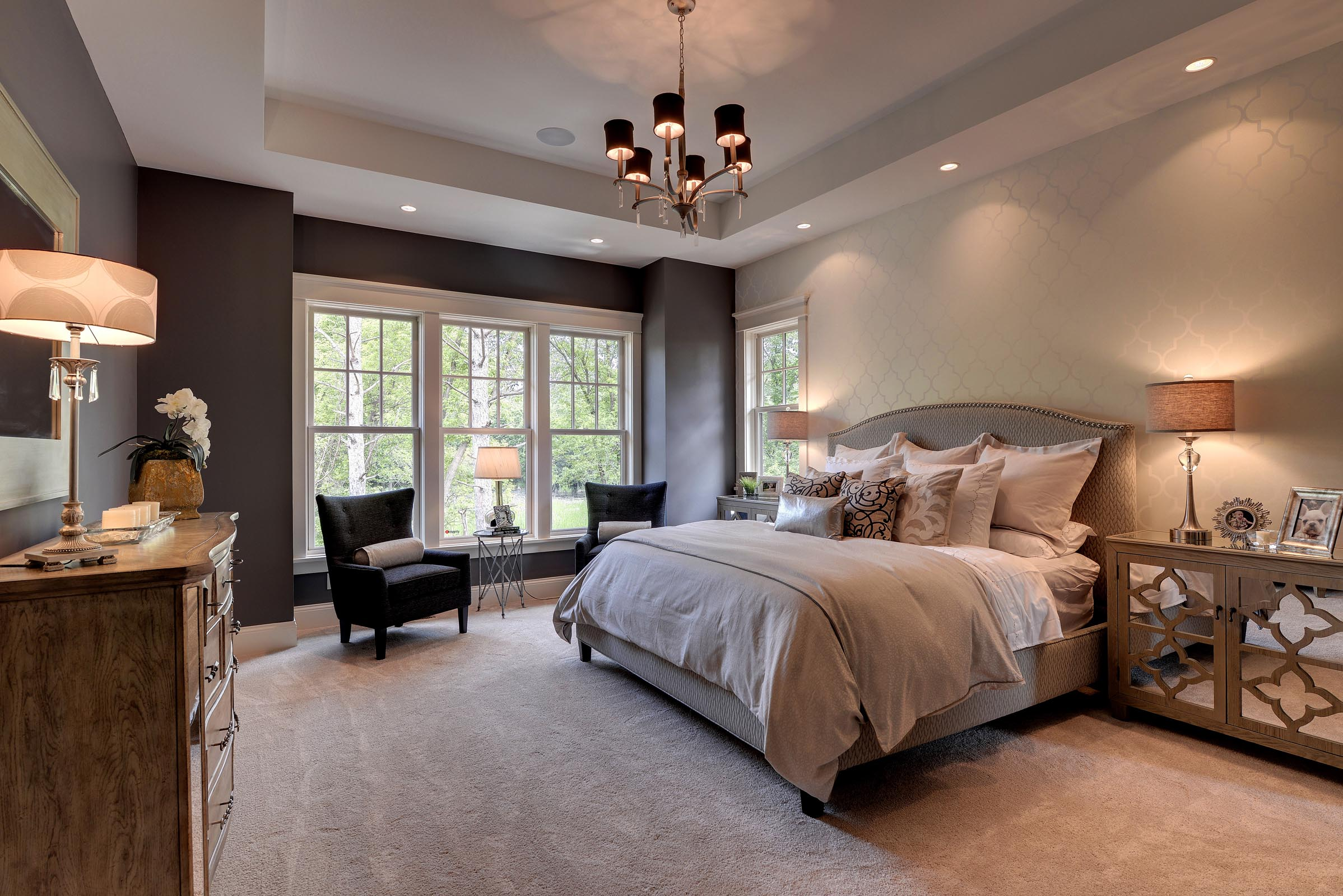 Traditional Master Bedroom with Beautiful Home Staging
