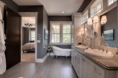 Traditional Master Bath with Beautiful Home Staging